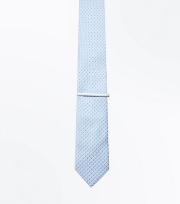 Pale Blue Geometric Tie and Clip