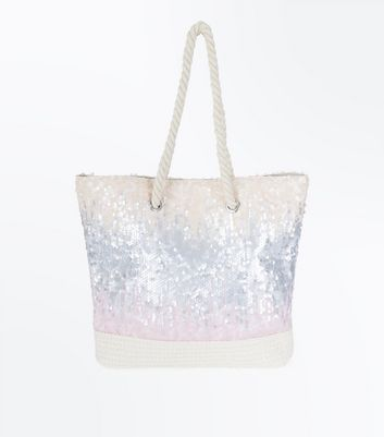 Cream Ombre Sequin Tote Bag