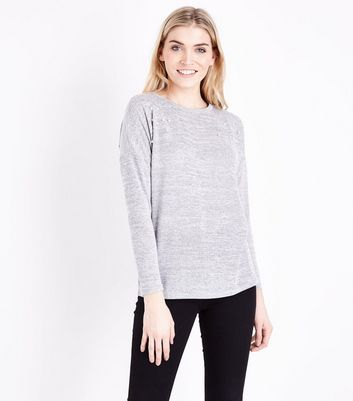 Blue Vanilla Grey Pearl Embellished Shoulder Top