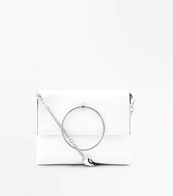 White Suedette Top Metal Ring Bag