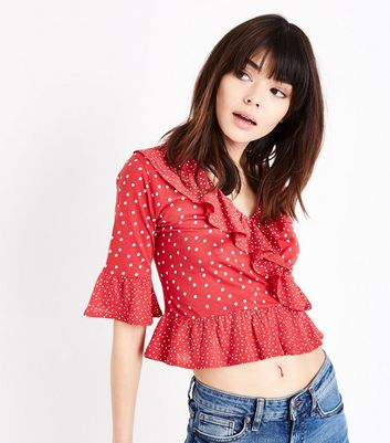 Red Mixed Spot Print Frill Trim Crop Top by New Look