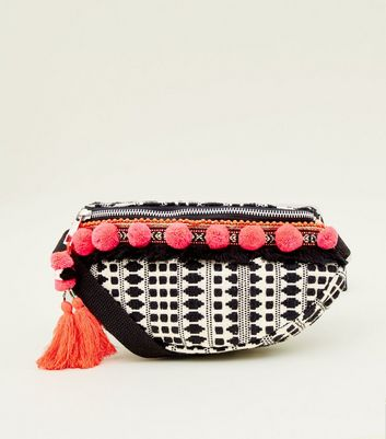 Black Neon Pom Pom Bum Bag