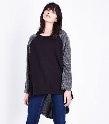 Lulua London Pale Grey Oversized Split Back Hem Top