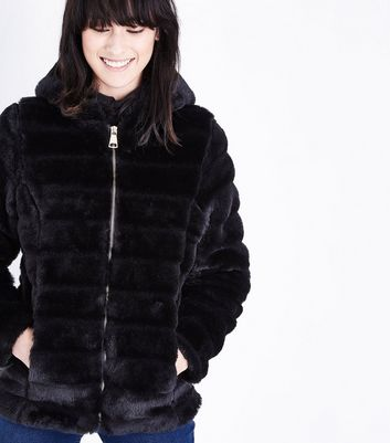 Lulua London Black Pelted Faux Fur Hooded Coat