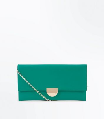 Dark Green Suedette Panel Clutch Bag
