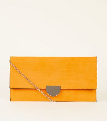 Orange Suedette Panel Clutch Bag