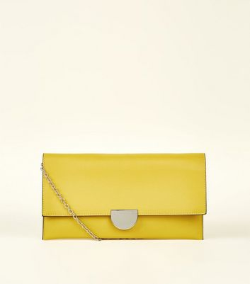 Bright Yellow Suedette Panel Clutch Bag