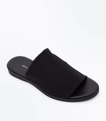 Wide Fit Black Elastic Strap Mules