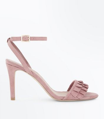 Wide Fit Pink Suedette Frill Strap Heels