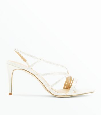 Wide Fit Off White Satin Asymmetric Strap Wedding Heels by New Look