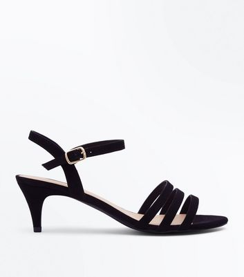 Wide Fit Black Strappy Kitten Heel Sandals