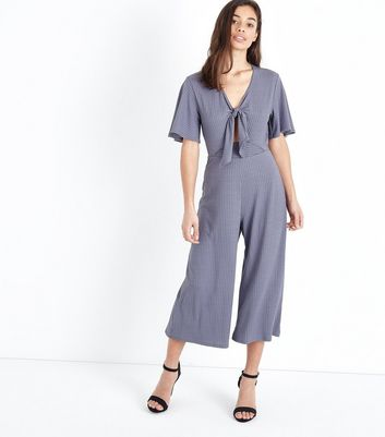 Petite Grey Tie Front Ribbed Culotte Jumpsuit
