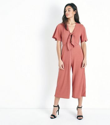 Petite Rust Tie Front Ribbed Culotte Jumpsuit