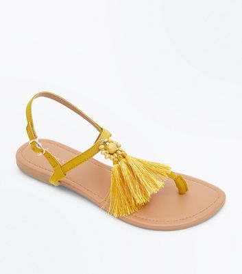 Wide Fit Mustard Suedette Tassel Sandals