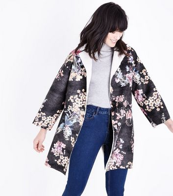 Lulua London Black Floral Suedette Faux Fur Lined Coat