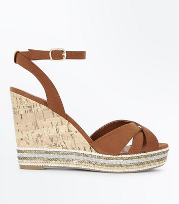 Wide Fit Tan Suedette Embellished Platform Wedges