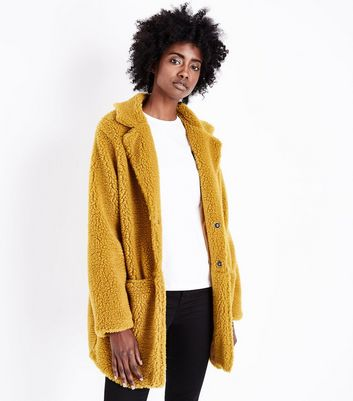 Lulua London Mustard Collared Teddy Coat