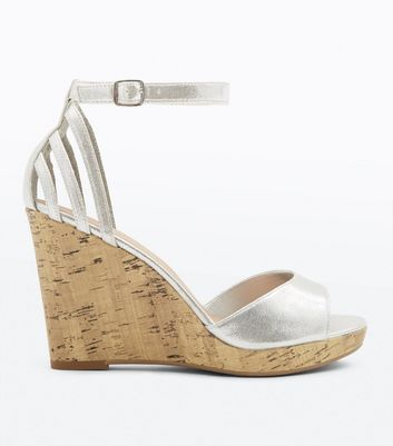 Wide Fit Silver Cork Wedges