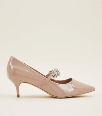 Wide Fit Nude Patent Diamanté  Mary Jane Courts