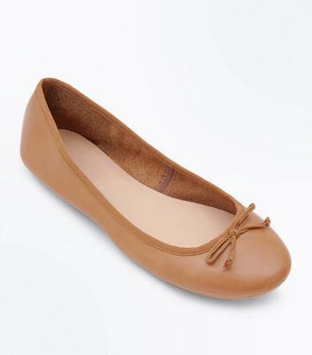 Wide Fit Tan Leather Ballet Pumps