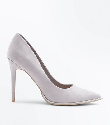 Wide Fit Grey Glitter Trim Court Heels