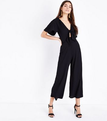 Tall Black Tie Front Ribbed Culotte Jumpsuit