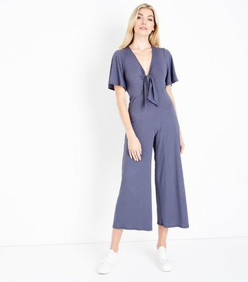 Tall Grey Tie Front Ribbed Culotte Jumpsuit