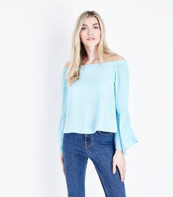 Tall Pale Blue Bell Sleeve Bardot Top