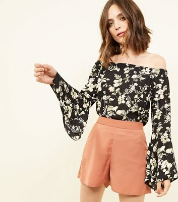 Tall Black Floral Bell Sleeve Bardot Top