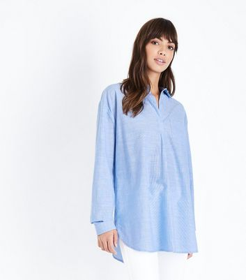 Tall Blue Woven Cotton Overhead Shirt