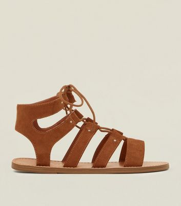Wide Fit Tan Studded Ghillie Sandals