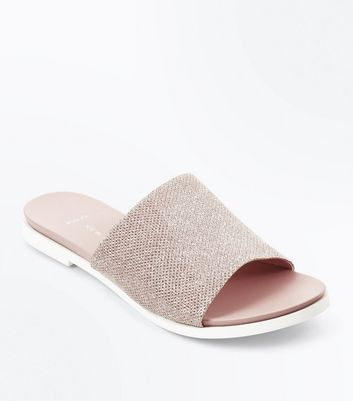 Wide Fit – Glitzernde Mules in Roségold