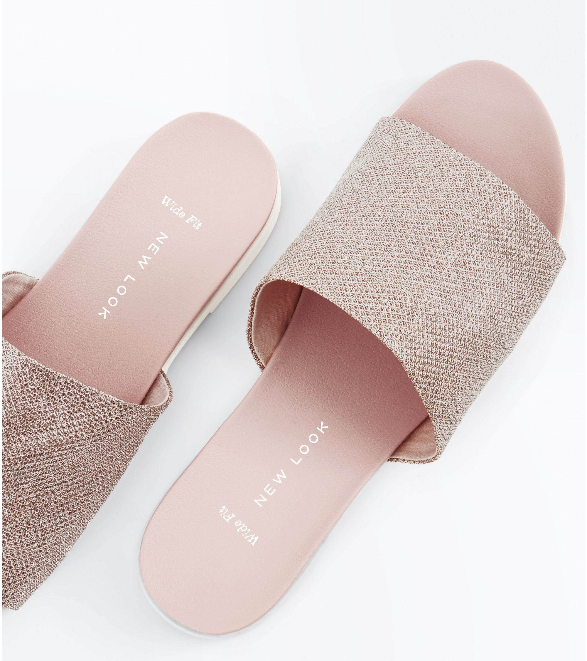 fde109226bcc New Look Wide Fit Rose Gold Glitter Mules at £17.99 | love the brands