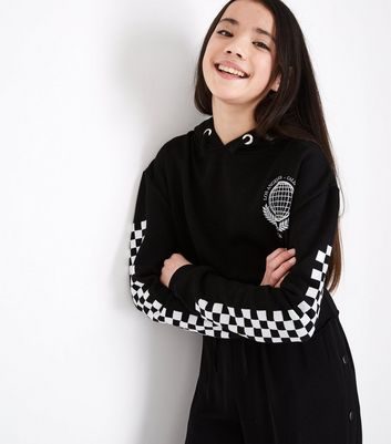 Teens Black Checkerboard Sleeve Hoodie