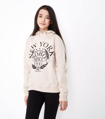Teens Pale Pink New York Crest Print Hoodie