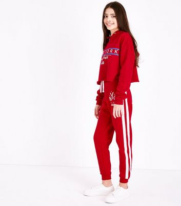 Teens Red NYC Side Stripe Joggers