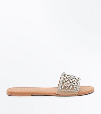 Wide Fit Cream Embellished Mules