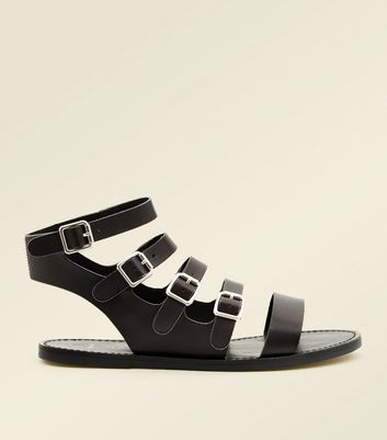 Wide Fit Black Buckle Strap Gladiator Sandals