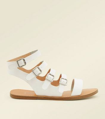 Wide Fit White Buckle Strap Gladiator Sandals