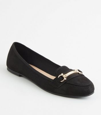 Black Suedette Bar Front Loafers