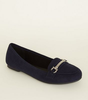 Navy Suedette Bar Front Loafers