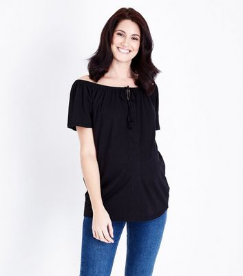 Maternity Black Bardot Tie Neck Top