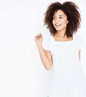 Maternity White Shirred Square Neck T-Shirt