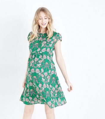 Maternity Green Floral Chiffon Mini Dress