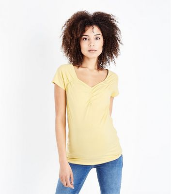 Maternity Pale Yellow Ruched Front T-Shirt