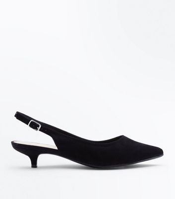 Wide Fit Black Kitten Heel Slingbacks