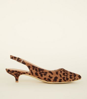 Wide Fit Stone Leopard Print Kitten Heel Slingbacks by New Look