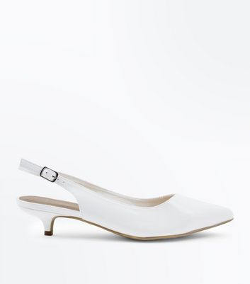 Wide Fit White Patent Slingback Kitten Heels