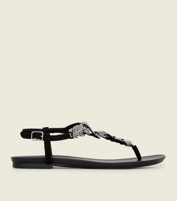 Black Diamanté Plaited Twist Strap Sandals