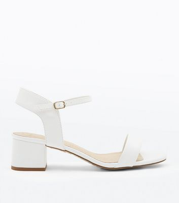 Wide Fit White Comfort Flex Block Heel Sandals